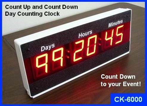 event countdown and count up clock with days