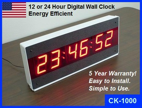 Led Large Digital Wall Clock With Seconds 12 Or 24 Hour Clock